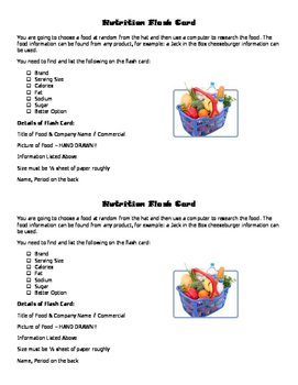 Easy Nutrition Flash Card Project