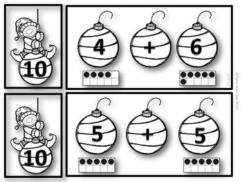 Early Adding - 2-10 Christmas Theme Black & White