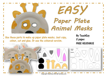 Easy Paper Plate Animal Masks Easy Paper Plate Animal Masks  sc 1 st  Teachers Pay Teachers & Animal Masks Teaching Resources | Teachers Pay Teachers