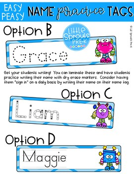 Easy Peasy Editable Name Practice Tags - Monster Theme Pre-K, Preschool, Kinder