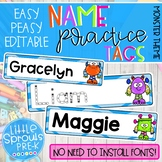 Easy Peasy Editable Name Practice Tags - Monster Theme Pre