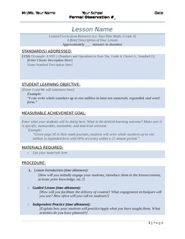 EasyPeasy Formal Lesson Plan Template By The Wandering Wonder TpT - Lesson plan observation template