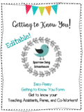 Easy-Peasy Getting to Know You Form - EDITABLE!