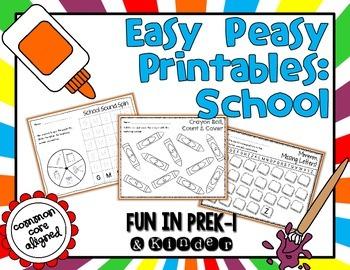Easy Peasy Math & Literacy Printables: Back to School