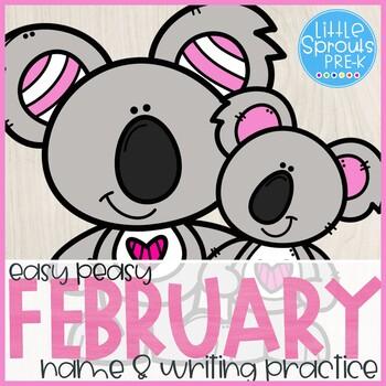 Easy Peasy Name Practice - February - Pre-K, Preschool, Kindergarten, PreK