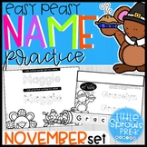 Easy Peasy Name Practice - November Set - PreK, Kindergarten, Preschool