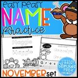 Easy Peasy Name Practice - November Set - PreK, Kindergart