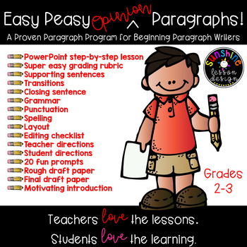 Easy Peasy Opinion Paragraphs! PowerPoint, 20 Prompts, Editing Sheets, Rubrics