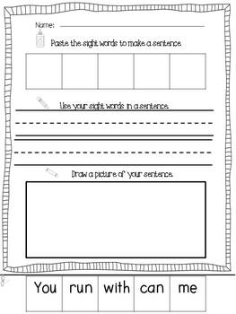 Easy, Peasy Printables: Cut and Paste Sight Word Sentence Builders