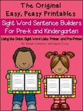 Easy, Peasy Printables: Cut and Paste Sight Word Sentence