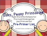 Easy, Peasy Printables: Pre-k and K Sight Words Worksheets