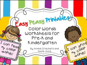 Easy, Peasy Printables: Pre-k and Kindergarten Color Words Worksheets