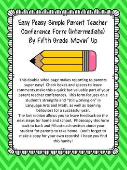 Easy Peasy Simple Parent Teacher Conference Report Intermediate