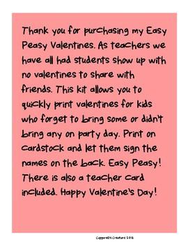 Easy Peasy Valentines