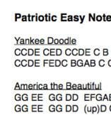 Easy Piano Note Page: Patriotic Tunes