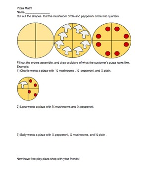Easy Pizza Fractions Worksheet