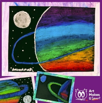 STEAM Art Lesson - Acid Base Reaction Planet Oil Pastel Powerpoint
