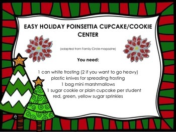 Easy Poinsettia Cupcakes or Cookies for Holiday Parties