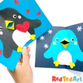 Easy Pop Up Penguin Card for Christmas & Valentine's Day -