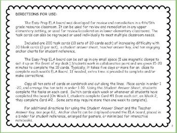 Easy-Prep Elementary ELA Board / Task Cards