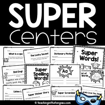 Literacy Centers First Grade and Up (Superhero Theme)