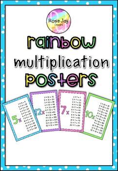 Easy Prep Rainbow Multiplication Posters  #tptfirewoeks
