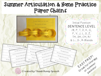 Easy Prep Summer Articulation and Home Practice Paper Chains BUNDLE