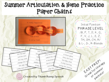 Easy Prep Paper Chains for Summer Articulation & Home Practice BUNDLE