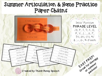 Easy Prep Summer Articulation and Home Practice Paper Chains - Initial Phrases