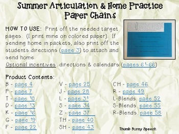 Easy Prep Summer Articulation and Home Practice Paper Chains - Initial Sentences
