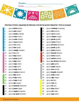 Easy Present Subjunctive Verb Conjugation Practice (Grouped Verbs) - JB