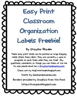 Easy Print Classroom Organization Labels (freebie)