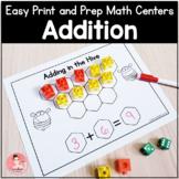 Easy Print & Prep Kindergarten Math Centers: Addition! End