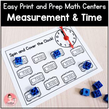 Easy Print & Prep Kindergarten Math Centers:Measurement&Time! Endlessly Growing