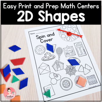 Easy Print and Prep Kindergarten Math Centers: 2D Shapes! Endlessly Growing