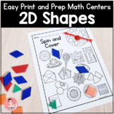 Easy Print and Prep Kindergarten Math Centers: 2D Shapes!