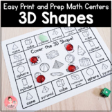 3D Shapes Math Centers | Easy Print and Prep Kindergarten Activities