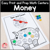 Easy Print and Prep Kindergarten Math Centers: Money! Endl