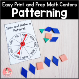 Easy Print and Prep Kindergarten Math Centers: Patterning!