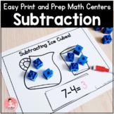 Easy Print and Prep Kindergarten Math Centers: Subtraction!