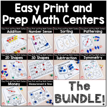 Easy Print and Prep Kindergarten Math Centers: THE BUNDLE! Endlessly Growing