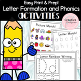 Easy Print and Prep Letter Formation and Phonics Activitie