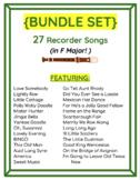 Easy Printables! 27 Recorder Songs in F Major