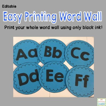 Easy Printing Word Wall Set: Editable, Classroom Decor, Sight Words, ABC