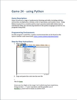 Easy Python Game - Math Game 24