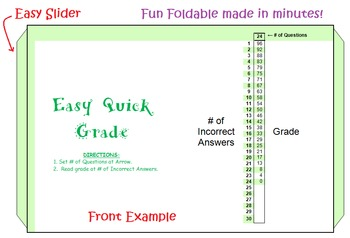 Easy Quick Grader Foldable | Teacher & Student Scoring Aid