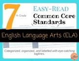 Easy-Read Common Core: English Language Arts for 7th Grade