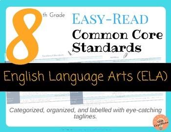 Easy-Read Common Core: English Language Arts for 8th Grade