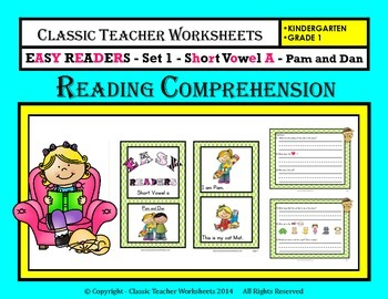 Easy Reader Short Vowel A Reading Comprehension Kindergarten Grade 1
