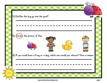 Easy Reader Short Vowel U-Reading Comprehension-Kindergarten Grade 1 (1st Grade)